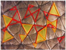 Рис. 2. Текстура кожи. Желтым обозначены равносторонние треугольники.