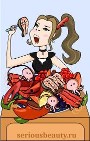 Девушка ест морепродукты